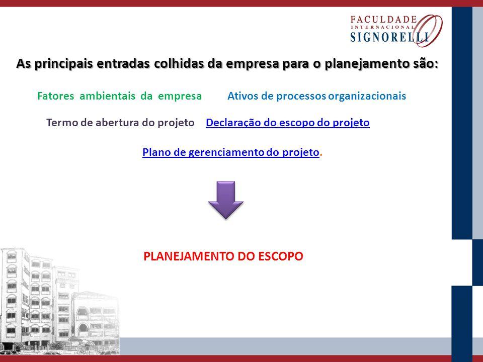 As principais entradas colhidas da empresa para o planejamento são: