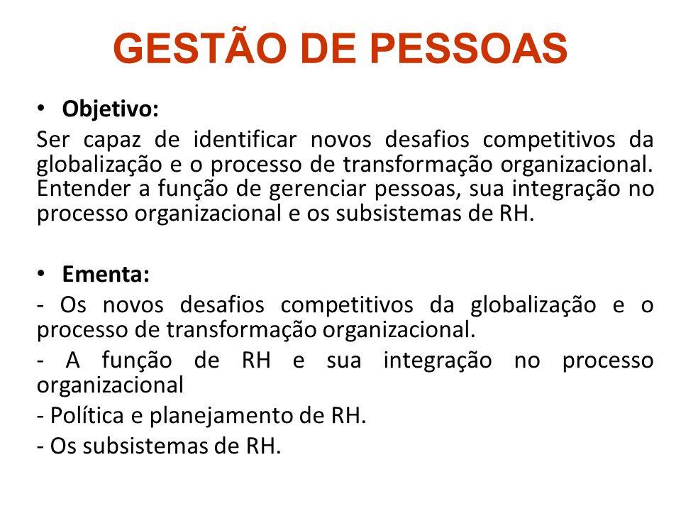 GESTÃO DE PESSOAS Objetivo: