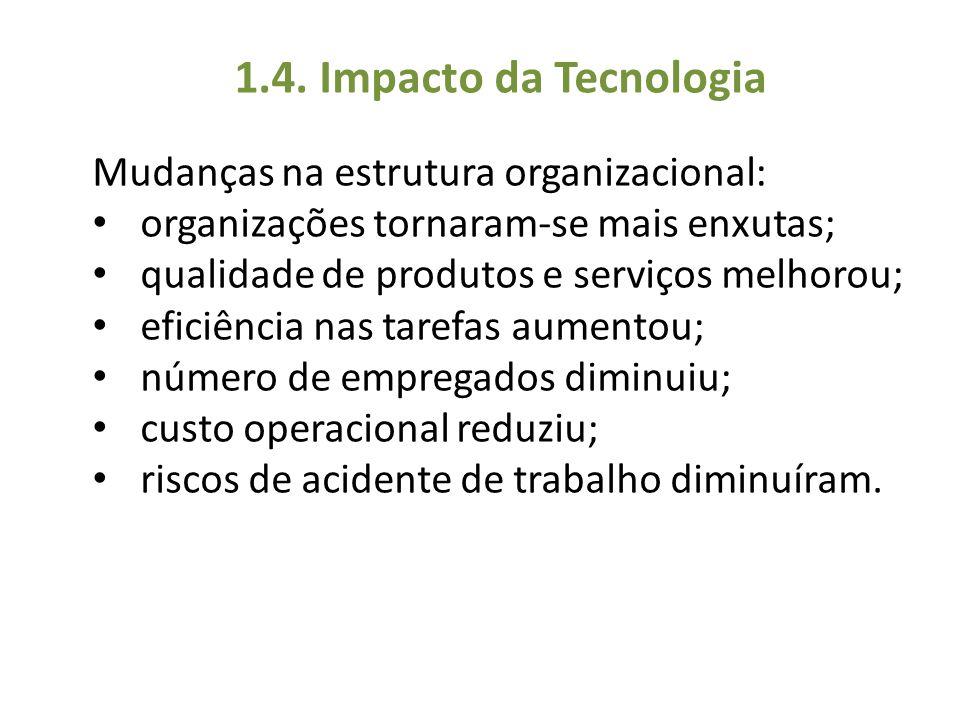 1.4. Impacto da Tecnologia Mudanças na estrutura organizacional: