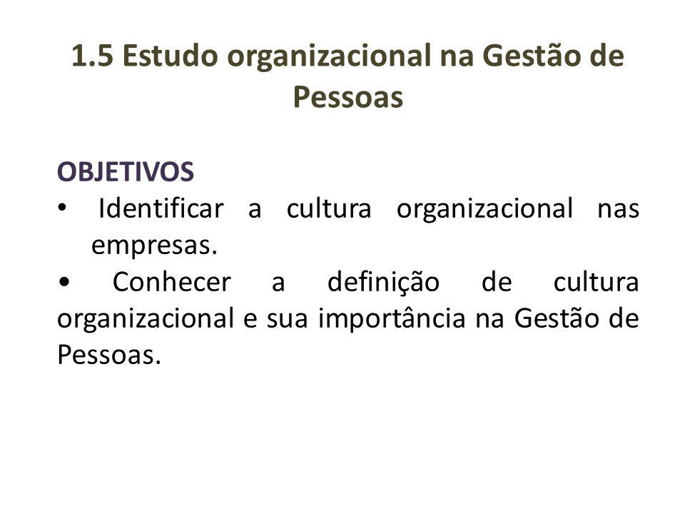 1.5 Estudo organizacional na Gestão de Pessoas