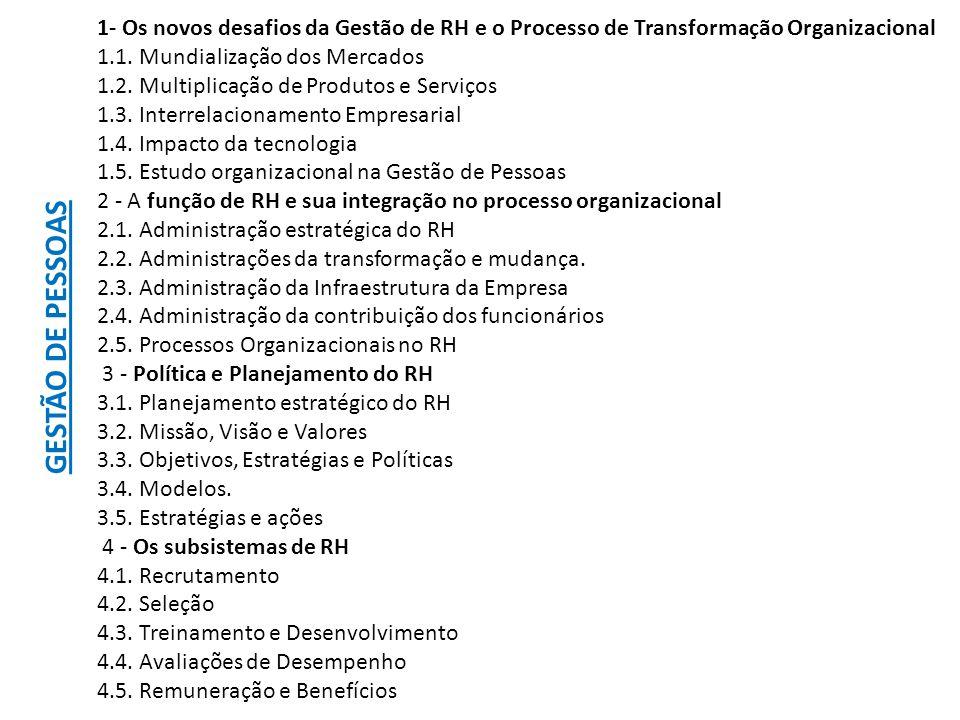 1- Os novos desafios da Gestão de RH e o Processo de Transformação Organizacional