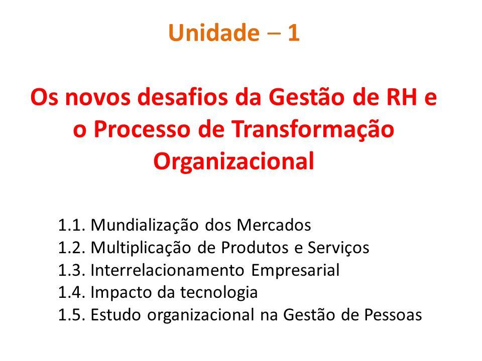Unidade – 1 Os novos desafios da Gestão de RH e o Processo de Transformação Organizacional