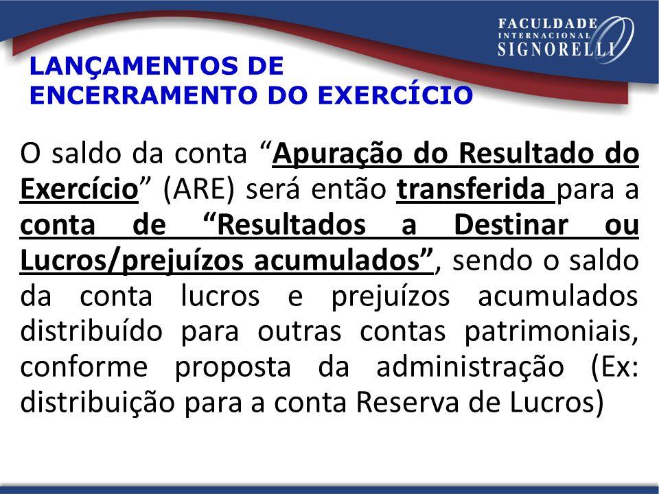 LANÇAMENTOS DE ENCERRAMENTO DO EXERCÍCIO