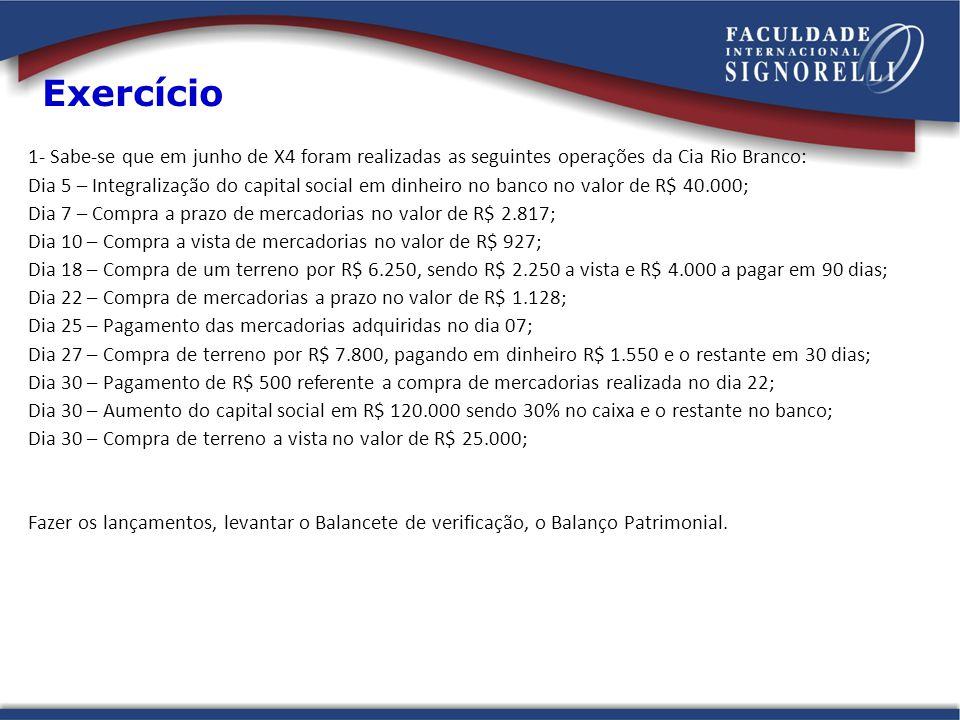 Exercício 1- Sabe-se que em junho de X4 foram realizadas as seguintes operações da Cia Rio Branco: