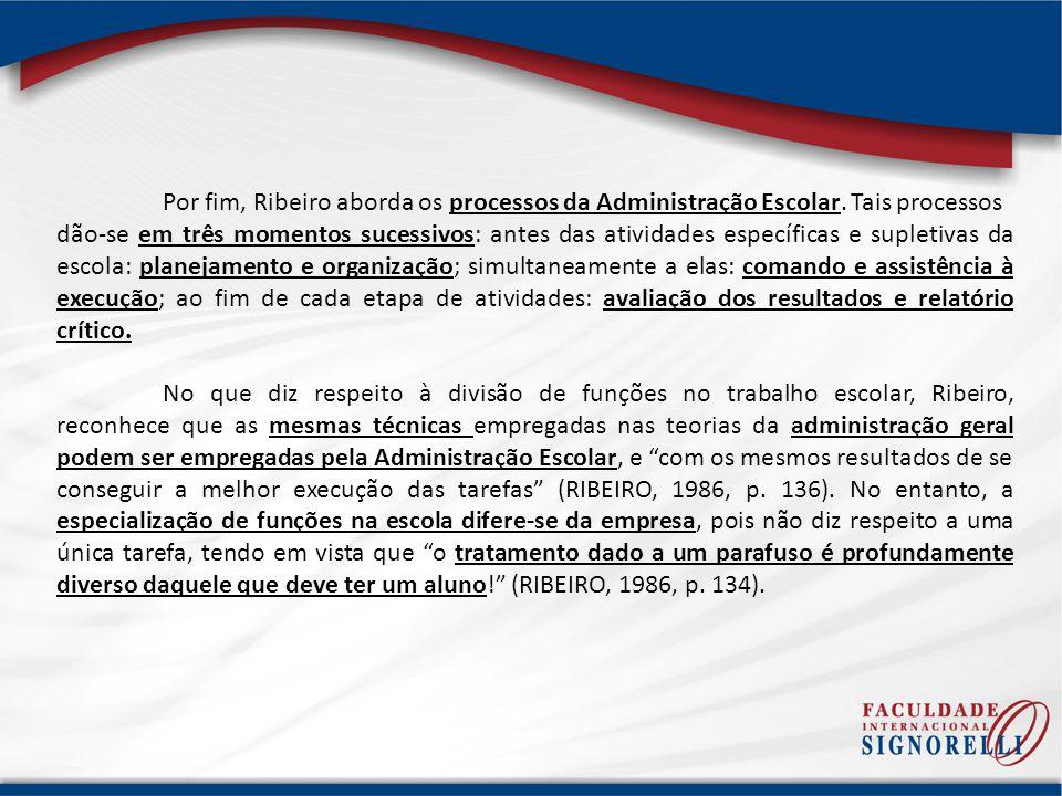 Por fim, Ribeiro aborda os processos da Administração Escolar
