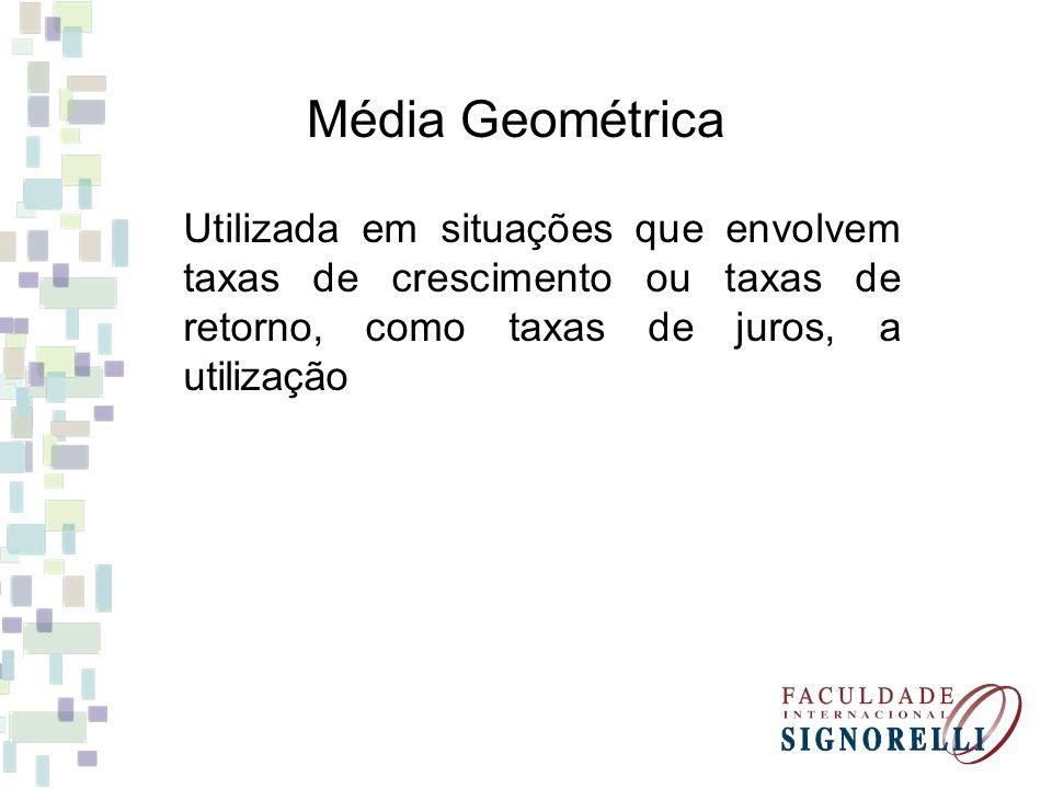 Média Geométrica Utilizada em situações que envolvem taxas de crescimento ou taxas de retorno, como taxas de juros, a utilização.