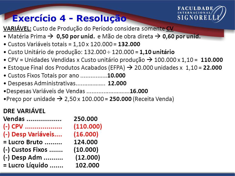 Exercício 4 - Resolução DRE VARIÁVEL Vendas .................. 250.000