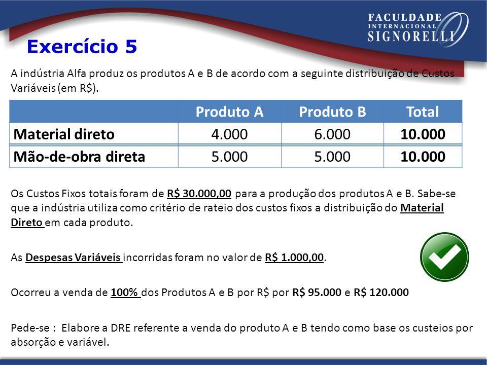 Exercício 5 Produto A Produto B Total Material direto 4.000 6.000
