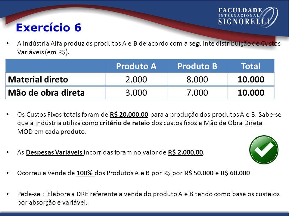 Exercício 6 Produto A Produto B Total Material direto 2.000 8.000