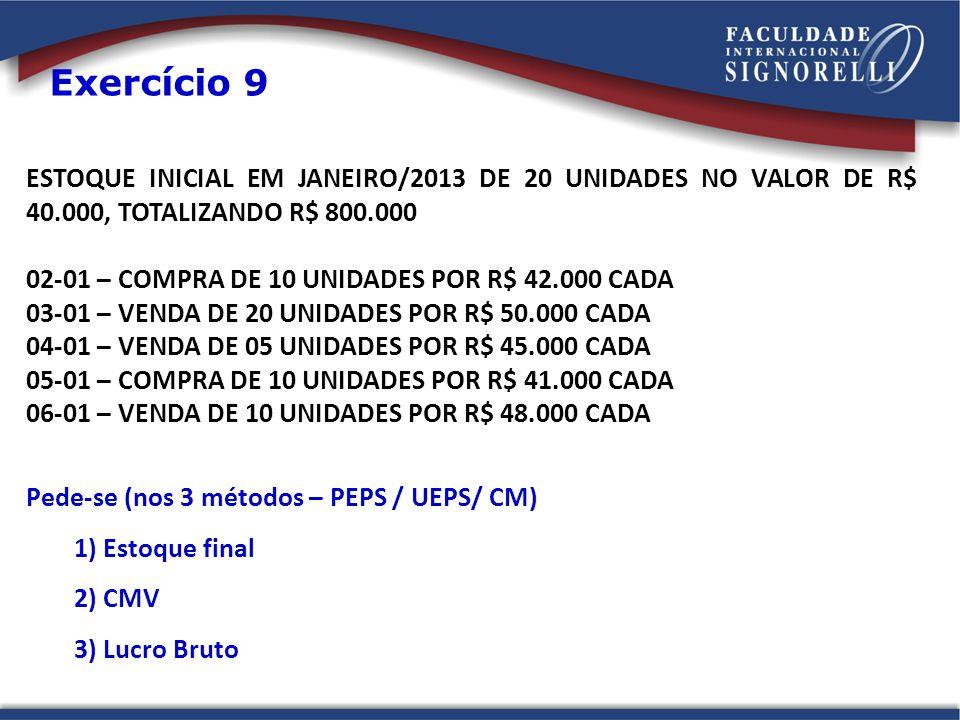 Exercício 9 ESTOQUE INICIAL EM JANEIRO/2013 DE 20 UNIDADES NO VALOR DE R$ 40.000, TOTALIZANDO R$ 800.000.