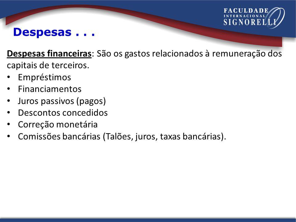 Despesas . . . Despesas financeiras: São os gastos relacionados à remuneração dos. capitais de terceiros.