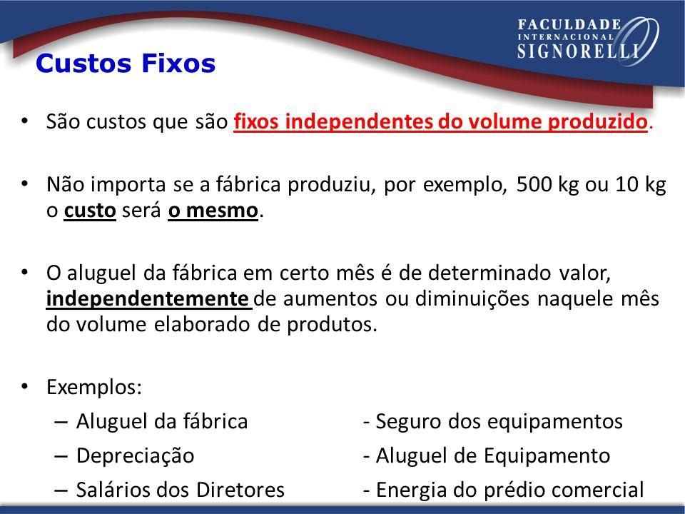 Custos Fixos São custos que são fixos independentes do volume produzido.