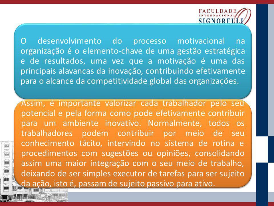 O desenvolvimento do processo motivacional na organização é o elemento-chave de uma gestão estratégica e de resultados, uma vez que a motivação é uma das principais alavancas da inovação, contribuindo efetivamente para o alcance da competitividade global das organizações.