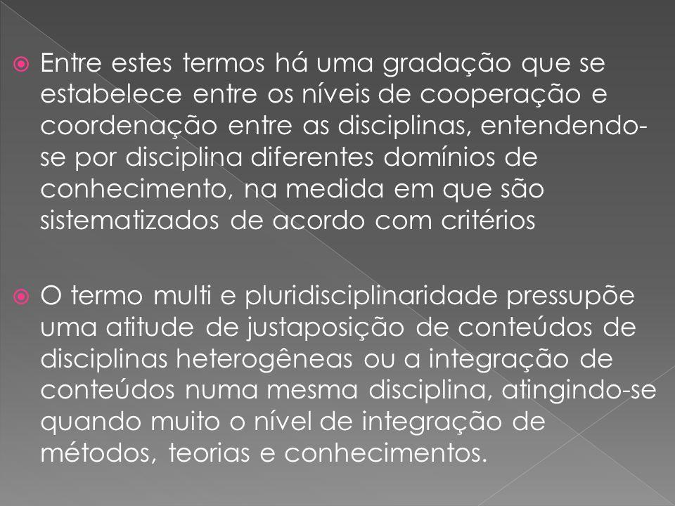 Entre estes termos há uma gradação que se estabelece entre os níveis de cooperação e coordenação entre as disciplinas, entendendo-se por disciplina diferentes domínios de conhecimento, na medida em que são sistematizados de acordo com critérios