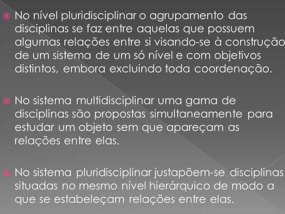 No nível pluridisciplinar o agrupamento das disciplinas se faz entre aquelas que possuem algumas relações entre si visando-se à construção de um sistema de um só nível e com objetivos distintos, embora excluindo toda coordenação.