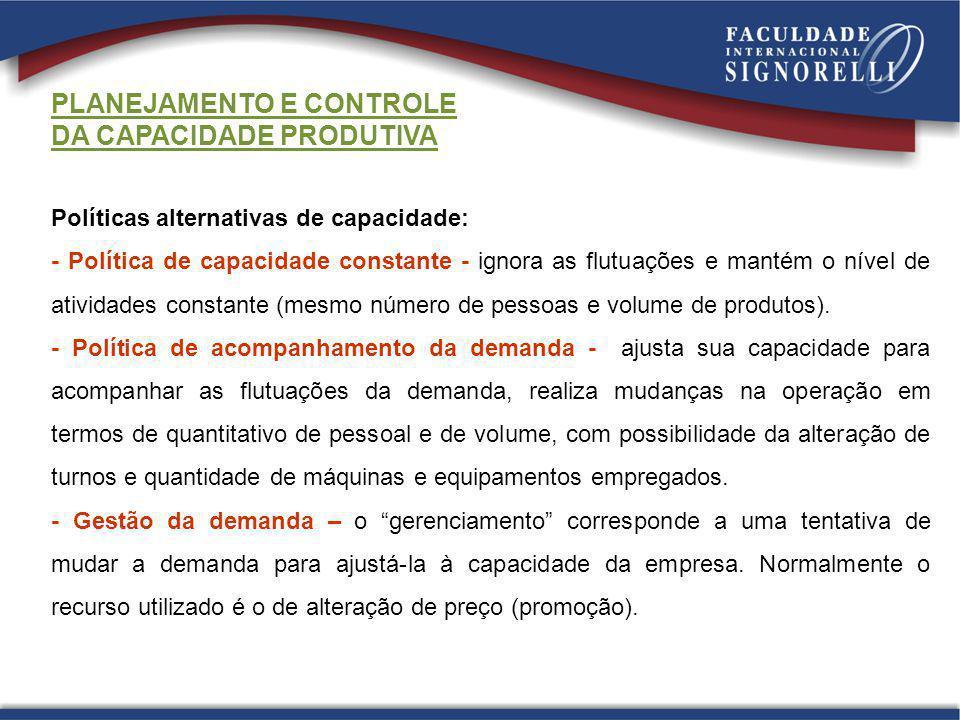 PLANEJAMENTO E CONTROLE DA CAPACIDADE PRODUTIVA