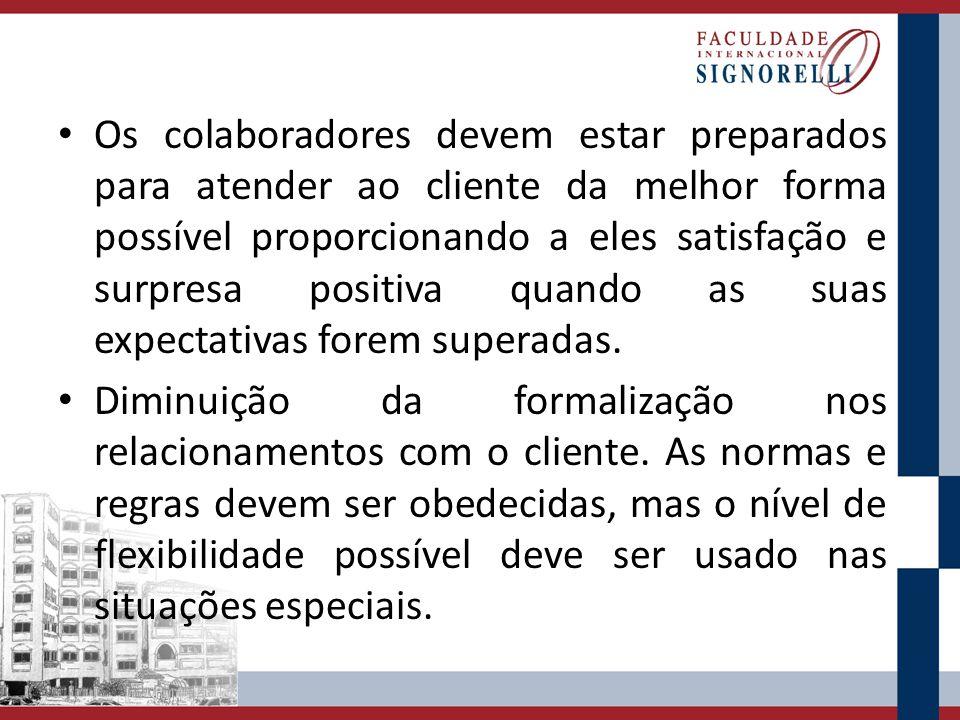 Os colaboradores devem estar preparados para atender ao cliente da melhor forma possível proporcionando a eles satisfação e surpresa positiva quando as suas expectativas forem superadas.