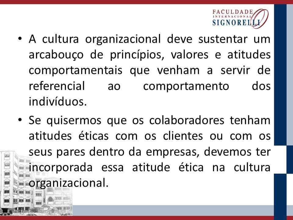 A cultura organizacional deve sustentar um arcabouço de princípios, valores e atitudes comportamentais que venham a servir de referencial ao comportamento dos indivíduos.