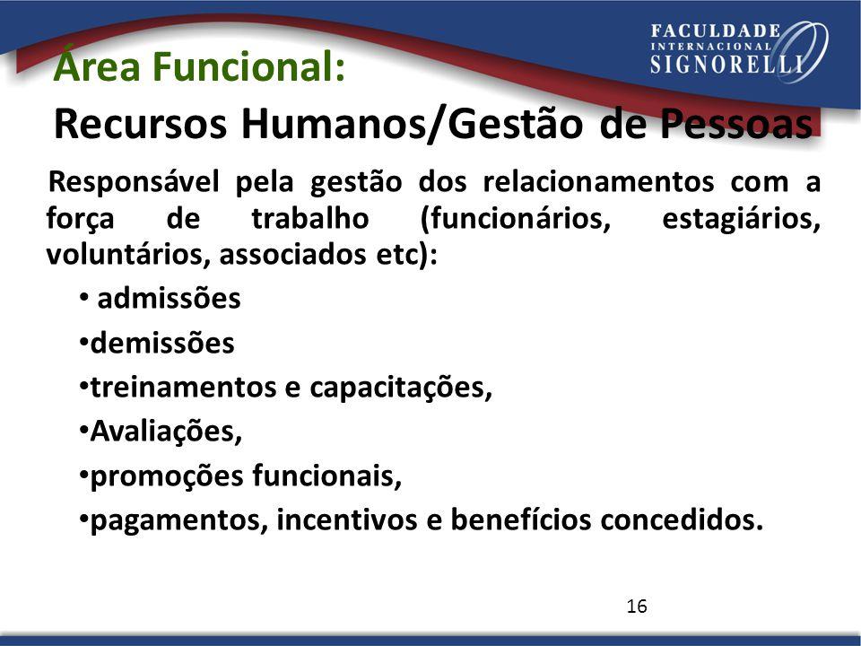 Área Funcional: Recursos Humanos/Gestão de Pessoas