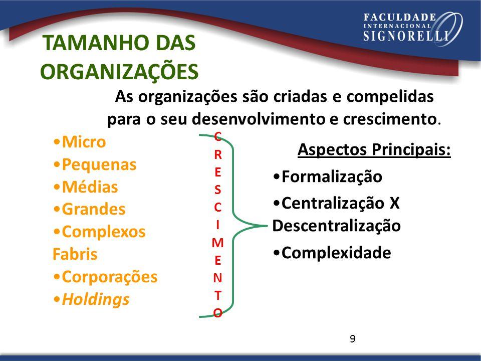 TAMANHO DAS ORGANIZAÇÕES