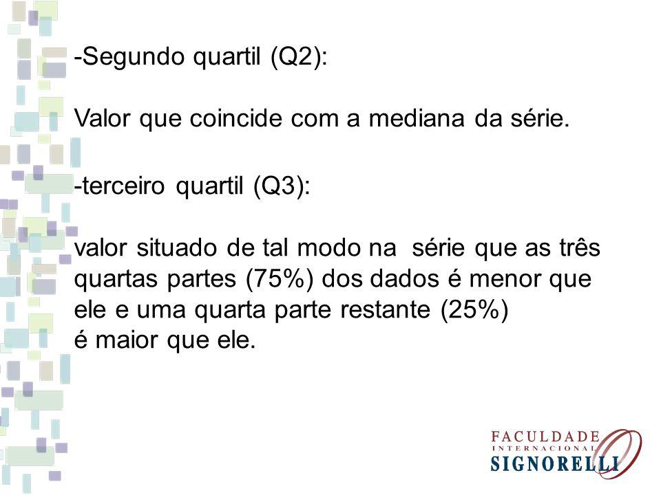-Segundo quartil (Q2): Valor que coincide com a mediana da série. -terceiro quartil (Q3): valor situado de tal modo na série que as três.
