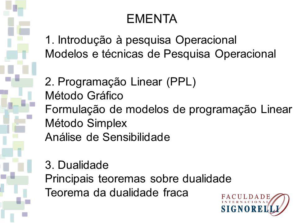 EMENTA 1. Introdução à pesquisa Operacional