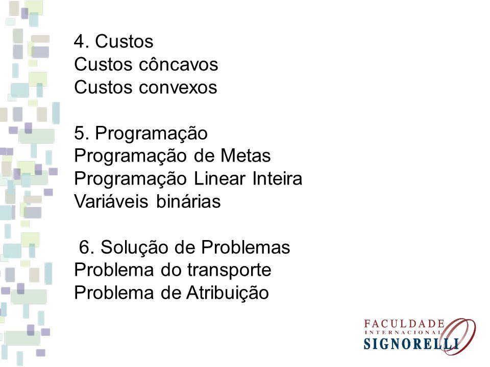 4. Custos Custos côncavos. Custos convexos. 5. Programação. Programação de Metas. Programação Linear Inteira.
