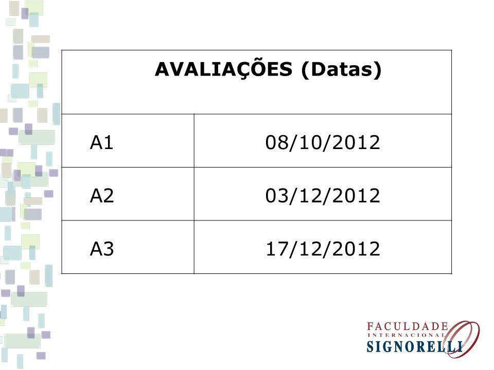 AVALIAÇÕES (Datas) A1 08/10/2012 A2 03/12/2012 A3 17/12/2012