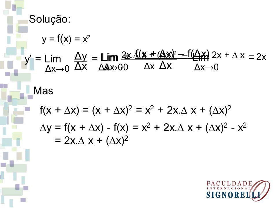 f(x + Dx) = (x + Dx)2 = x2 + 2x.D x + (Dx)2