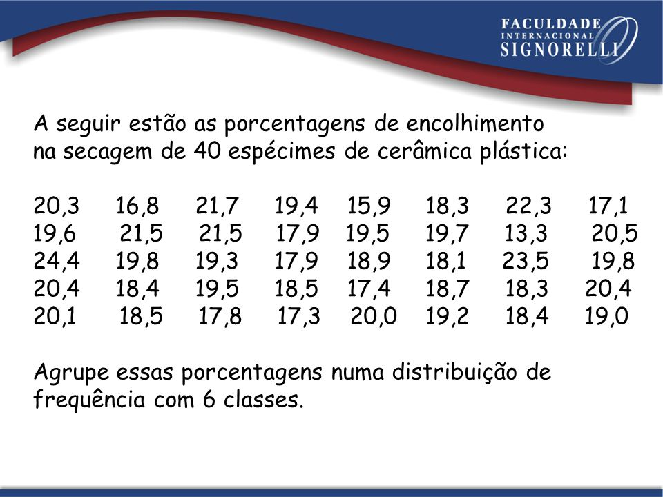 A seguir estão as porcentagens de encolhimento