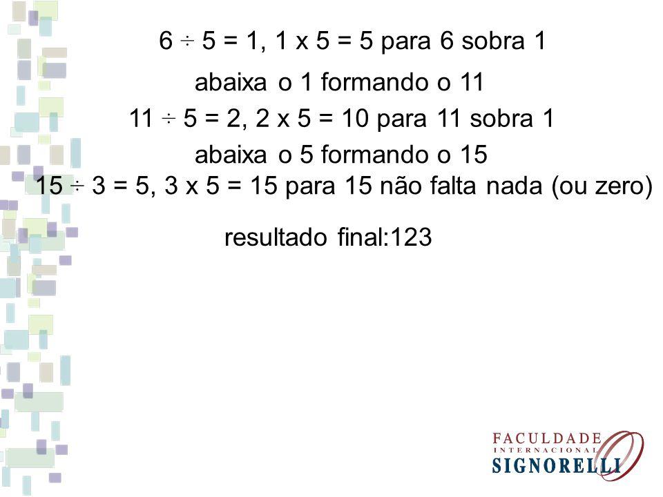 15 ÷ 3 = 5, 3 x 5 = 15 para 15 não falta nada (ou zero)