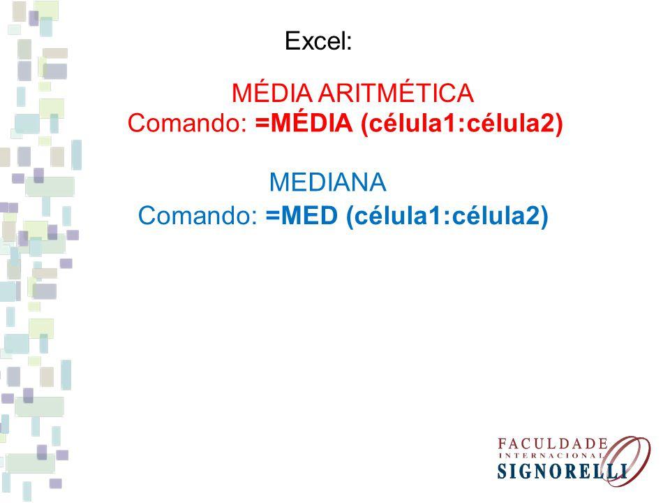 Excel: MÉDIA ARITMÉTICA Comando: =MÉDIA (célula1:célula2) MEDIANA Comando: =MED (célula1:célula2)