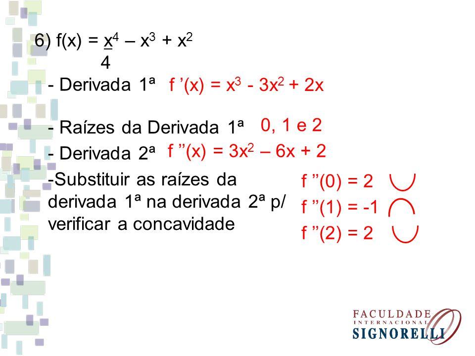 6) f(x) = x4 – x3 + x2 4. - Derivada 1ª. f '(x) = x3 - 3x2 + 2x. - Raízes da Derivada 1ª. 0, 1 e 2.