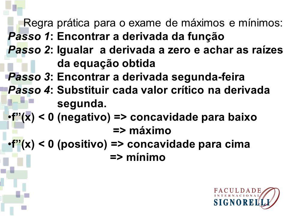 Regra prática para o exame de máximos e mínimos:
