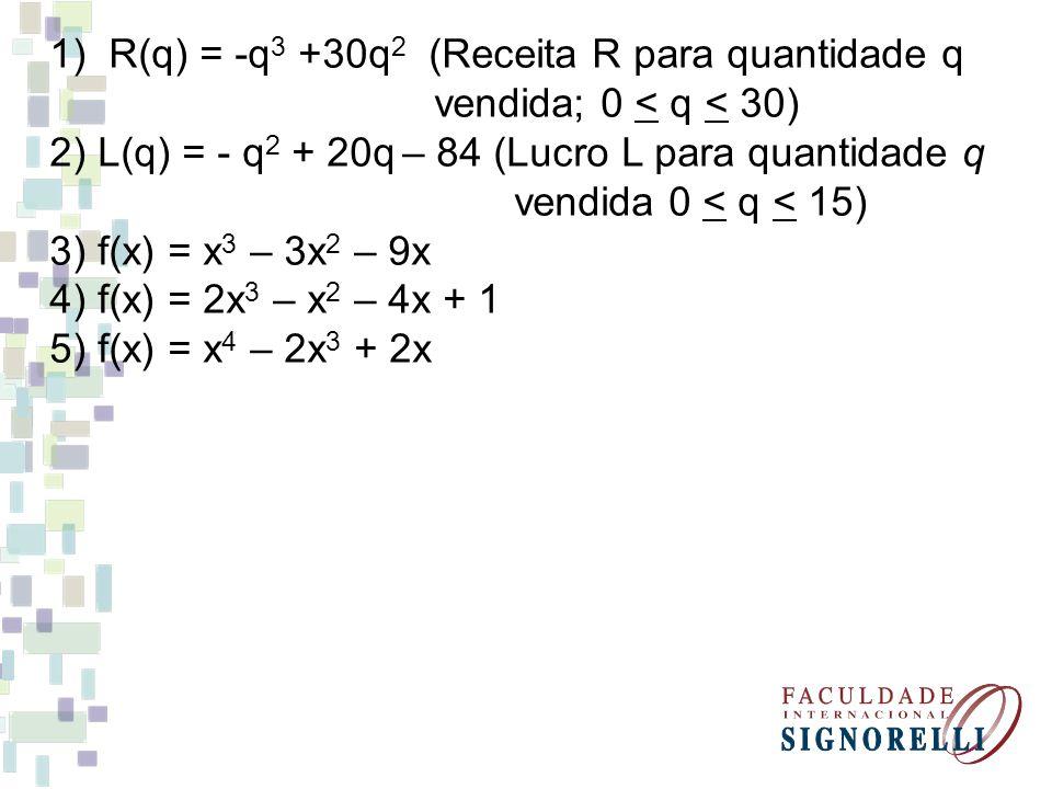 R(q) = -q3 +30q2 (Receita R para quantidade q