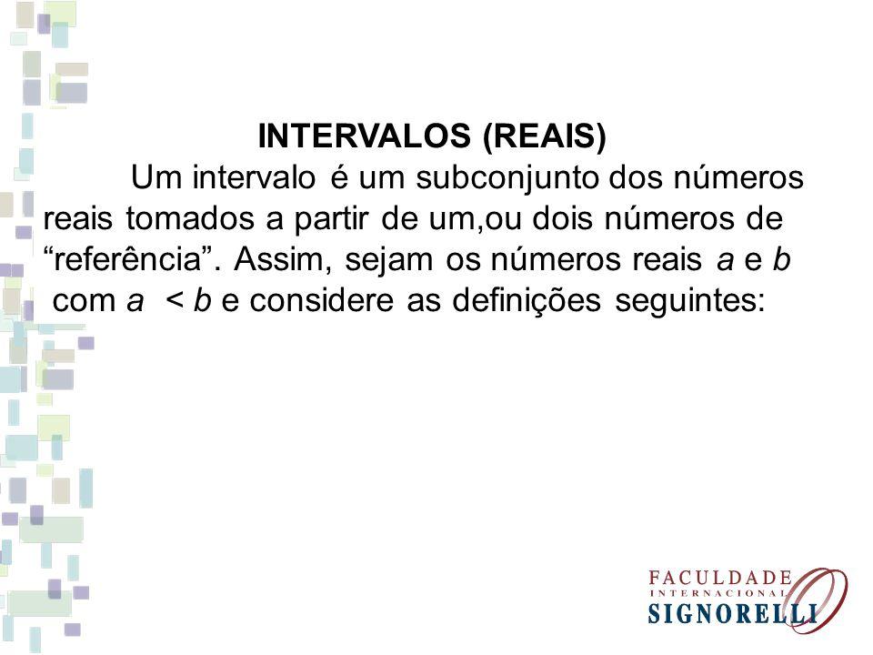 INTERVALOS (REAIS) Um intervalo é um subconjunto dos números. reais tomados a partir de um,ou dois números de.