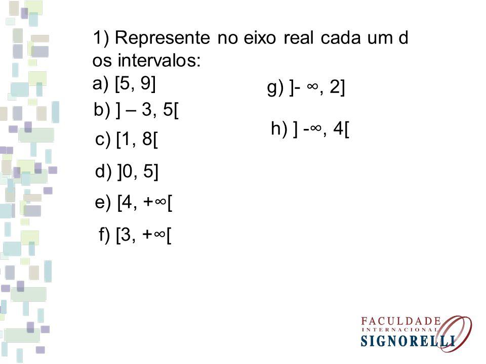 1) Represente no eixo real cada um d
