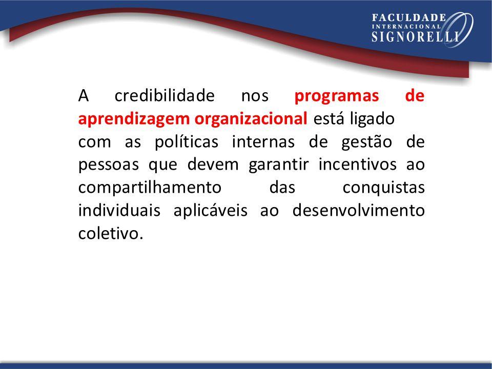 A credibilidade nos programas de aprendizagem organizacional está ligado