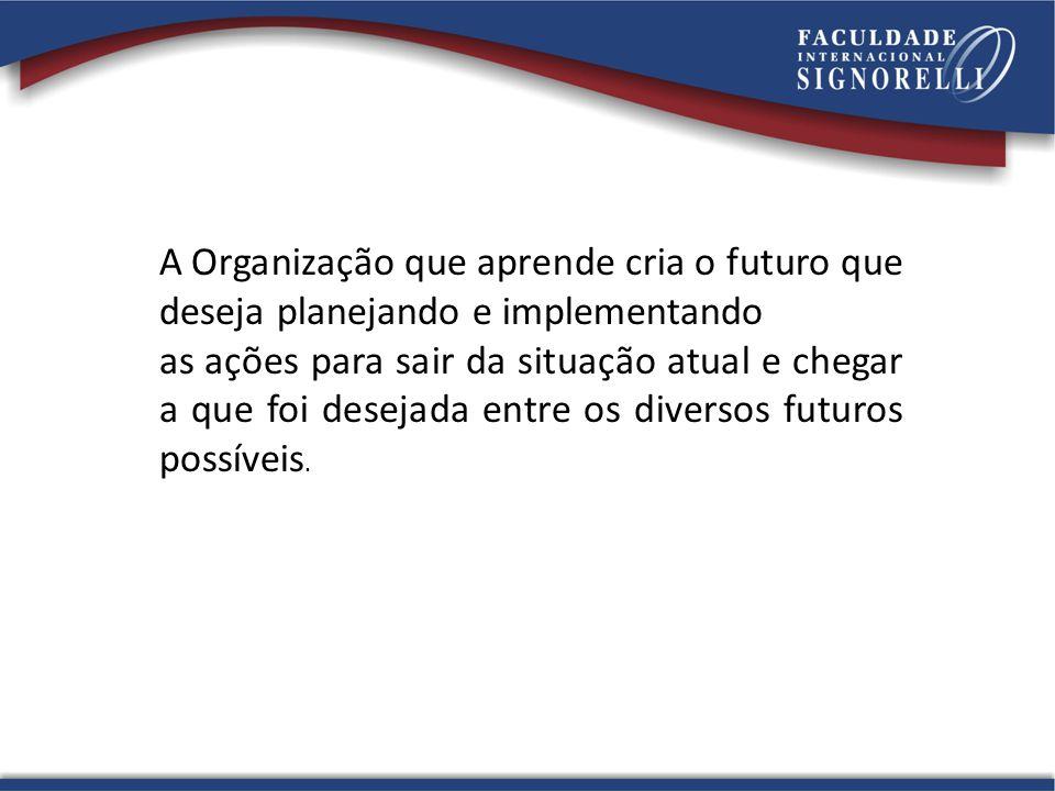 A Organização que aprende cria o futuro que deseja planejando e implementando