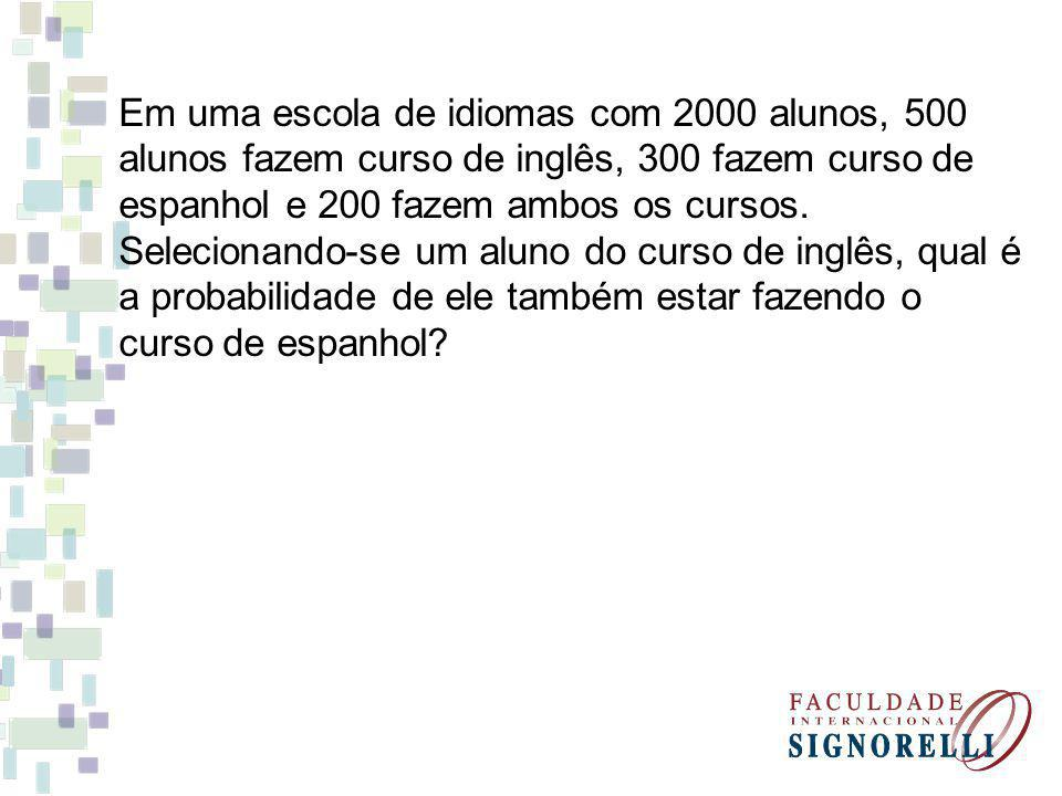 Em uma escola de idiomas com 2000 alunos, 500