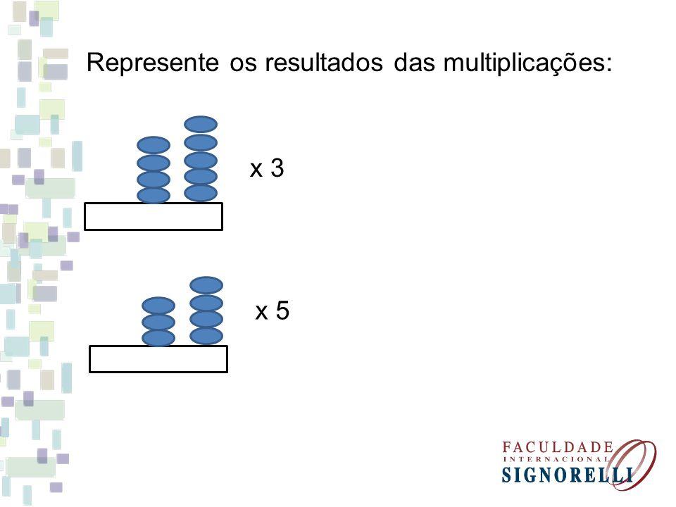 Represente os resultados das multiplicações: