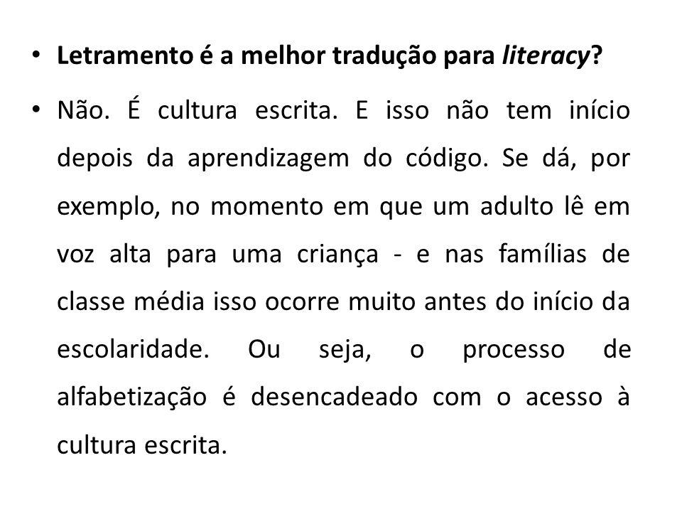 Letramento é a melhor tradução para literacy