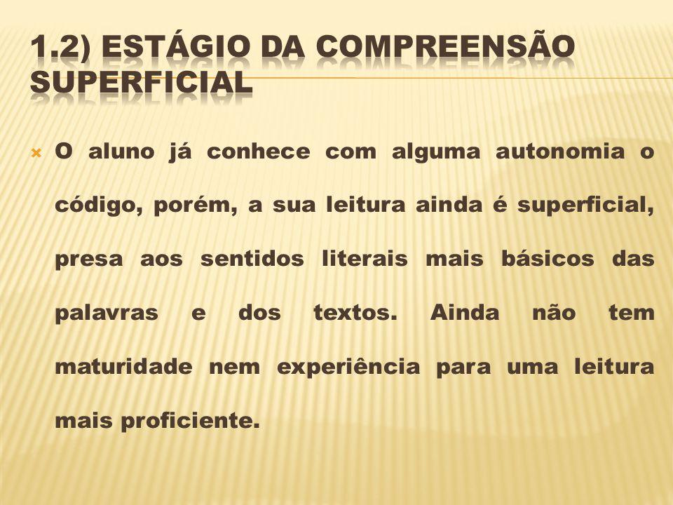 1.2) Estágio da compreensão superficial