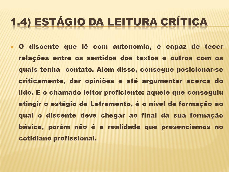 1.4) Estágio da leitura crítica