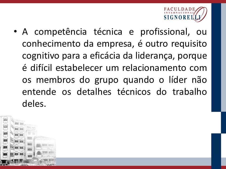 A competência técnica e profissional, ou conhecimento da empresa, é outro requisito cognitivo para a eficácia da liderança, porque é difícil estabelecer um relacionamento com os membros do grupo quando o líder não entende os detalhes técnicos do trabalho deles.