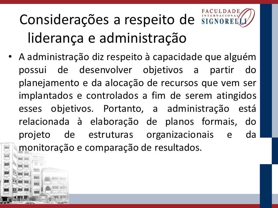 Considerações a respeito de liderança e administração