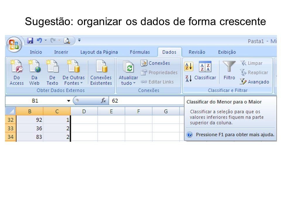 Sugestão: organizar os dados de forma crescente