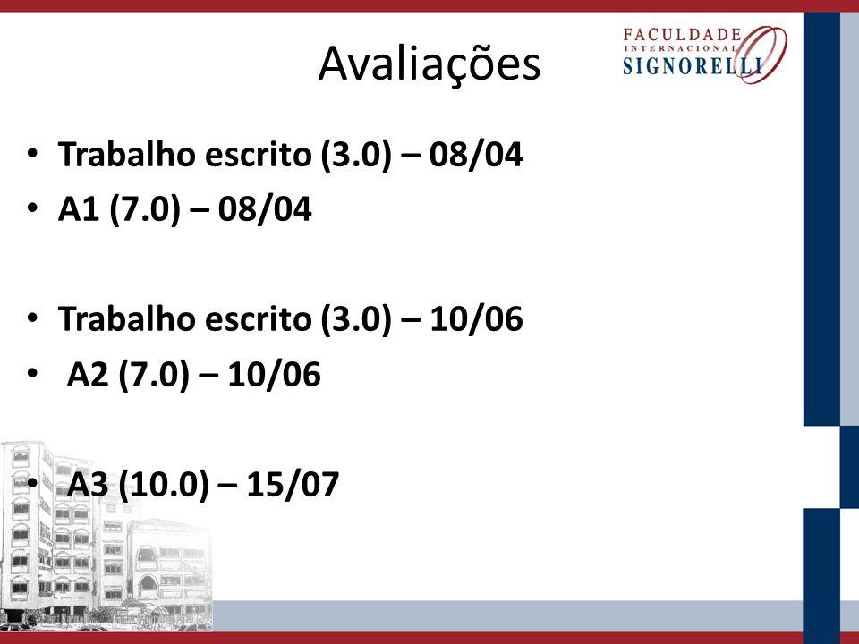 Avaliações Trabalho escrito (3.0) – 08/04 A1 (7.0) – 08/04