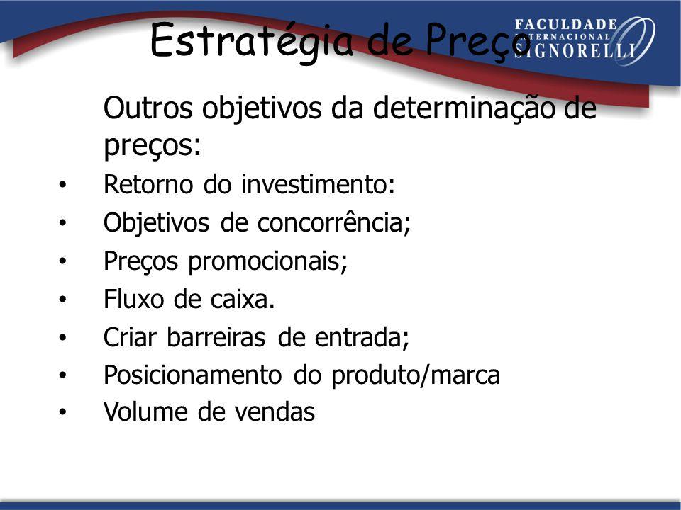 Estratégia de Preço Outros objetivos da determinação de preços: