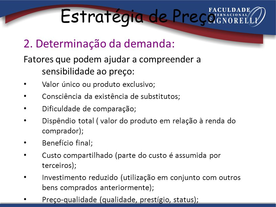 Estratégia de Preço 2. Determinação da demanda: